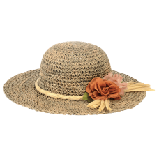 woman hat with paper decoration and flower