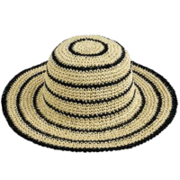 woman paper hat with stripes