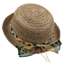 straw woman hat with organza and paper decoration