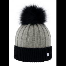 ribbed bonnet ponpon faux fur