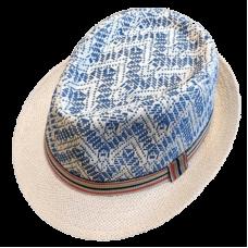 fedora hat with head zig-zag design