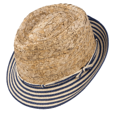 fedora hat with head made in straw and flap in bicolor paper