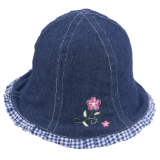 bell girl jeans hat with flower embroidered and internal vichy